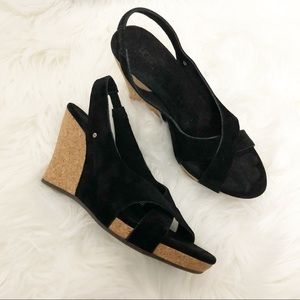 Ugg Australia Hazel Black Suede Cork Wedge Sandals